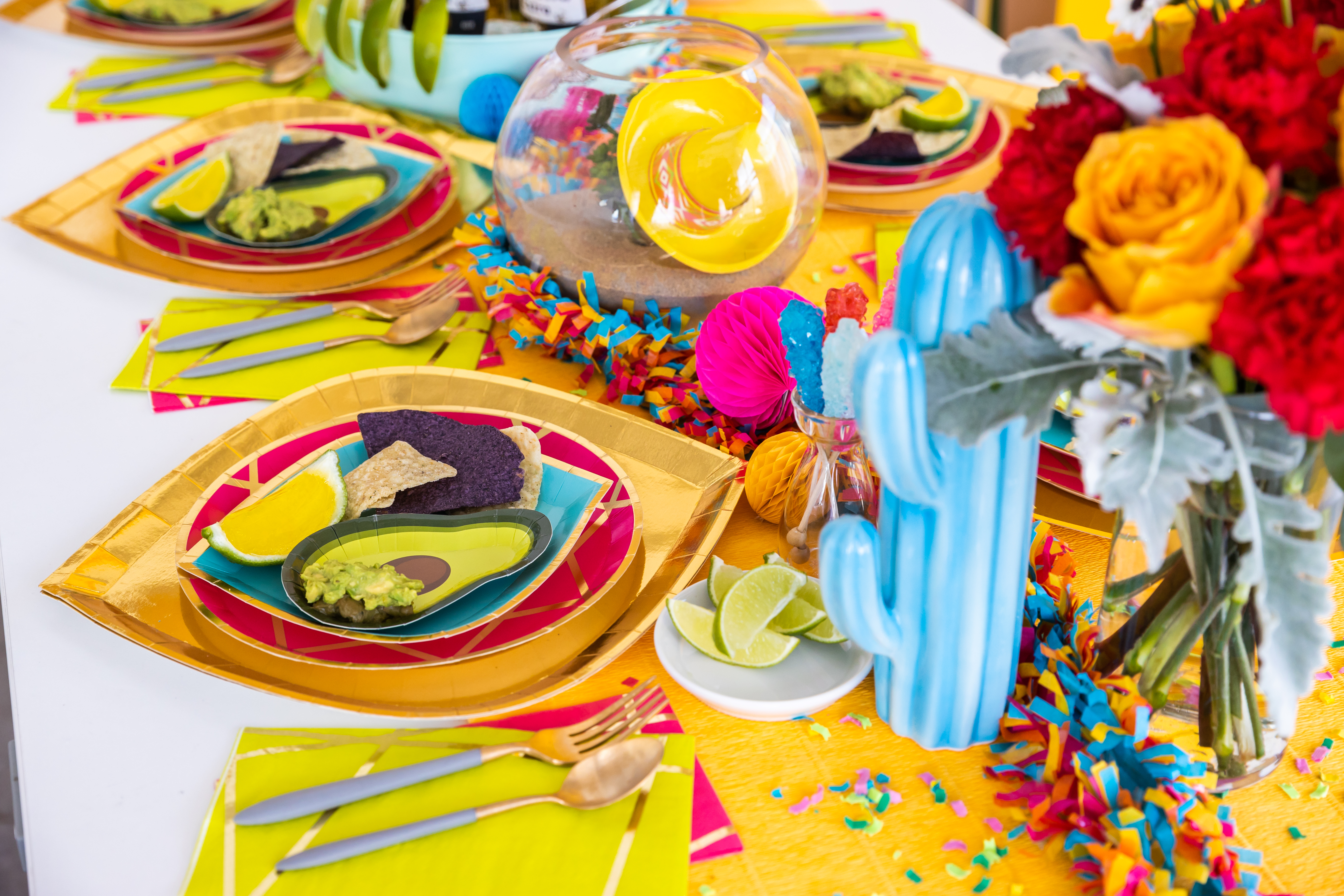 Lime slice Jell-O shots arranged on a stack of Buoy Bye Dessert Plate, Pink Enchanté Dinner Plate, and Gold to Go Charger.